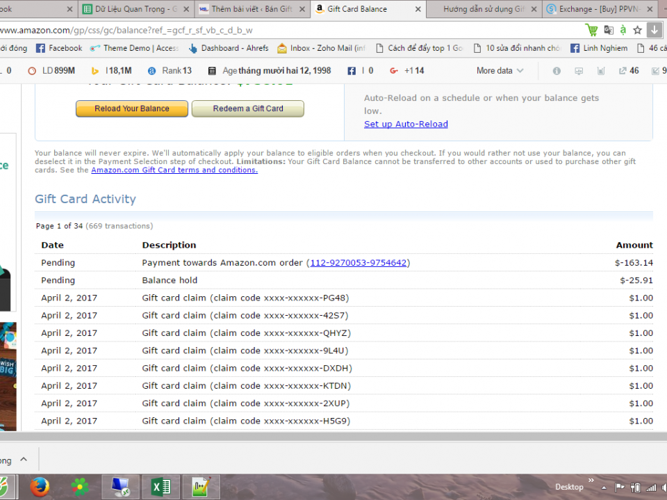 kiểm tra lịch sử nạp code amazon